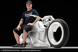 Tim McNamer's Legacy Series, a fully custom electric bike, built in 2020. Photographed by Michael Lichter in Sturgis, SD. August 5, 2020. ©2020 Michael Lichter