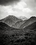 random mountain range in alaska in black and white.