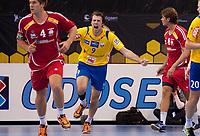 Håndball<br /> 7. November2012<br /> NM Semifinale<br /> Framohallen<br /> FyllingenBergen - Haslum 34 - 25<br /> Einar Riegelhuth Koren (L) og Simen Strømberg (R) , Haslum<br /> En jublende glad Tore Andrè Lunde (M) , FyllingenBergen etter mål<br /> Foto: Astrid M. Nordhaug