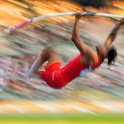 BRUSSELS, BELGIUM:  September 3:   Bo Kanda Lita Baehre of Germany in action during the pole vault competition at the Wanda Diamond League 2021 Memorial Van Damme Athletics competition at King Baudouin Stadium on September 3, 2021 in  Brussels, Belgium. (Photo by Tim Clayton/Corbis via Getty Images)