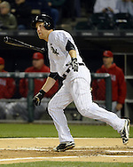 CHICAGO - APRIL 19:  Todd Frazier #21 of the Chicago White Sox hits a solo home run in the fifth inning against the Los Angeles Angels on April 19, 2016 at U.S. Cellular Field in Chicago, Illinois.  The White Sox defeated the Angels 5-0.  (Photo by Ron Vesely)   Subject: Todd Frazier