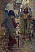 SAUL MEETETH WITH SAMUEL. I Samuel ix. 17. And when Samuel saw Saul, the Lord said unto him, Behold the man whom I spake to thee of ! this same shall reign over my people. From the book ' The Old Testament : three hundred and ninety-six compositions illustrating the Old Testament ' Part II by J. James Tissot Published by M. de Brunoff in Paris, London and New York in 1904