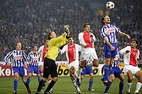 seizoen 2004 / 2005 , amsterdam 27-11-2005 amstelcupfinale 1/8 finale met rafael  van der vaart brian vandenbussche en daniel hestad