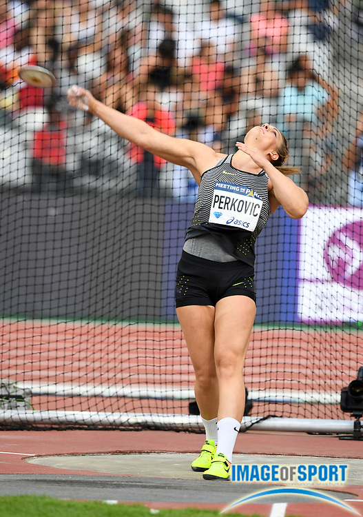 Sandra Perkovic (CRO) wins the women's discus at 221-6 (67.62m) in the Meeting de Paris during a IAAF Diamond League track and field meet at Stade de France in Saint-Denis, France on Saturday, Aug. 28, 2016. Photo by Jiro Mochizuki