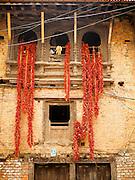 04 AUGUST 2015 - KHOKANA, NEPAL: Chilies dry on a house in Khokana, Nepal.        PHOTO BY JACK KURTZ