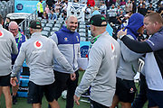 The Warriors staff celebrate post-match. Vodafone Warriors v Manly Sea Eagles. NRL Rugby League, Central Coast Stadium, Gosford, NSW, Australia, Sunday 27th September 2020 Copyright Photo: David Neilson / www.photosport.nz