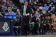 April 4, 2016; Indianapolis, Ind.; Ryan McCarthy stalks the sidelines in the NCAA Division II Women's Basketball National Championship game at Bankers Life Fieldhouse between UAA and Lubbock Christian. The Seawolves lost to the Lady Chaps 78-73.