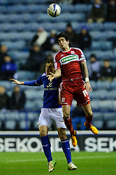 Leicester Forward Chris Wood (NZL) and Middlesbrough Defender Rhys Williams (AUS)  (capt) compete in the air during the second half of the match - Photo mandatory by-line: Rogan Thomson/JMP - Tel: Mobile: 07966 386802 18/01/2013 - SPORT - FOOTBALL - King Power Stadium - Leicester. Leicester City v Middlesbrough - npower Championship.