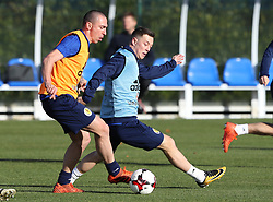 Scotland players Scott Brown (left) and Callum McGregor during the training session at Heriot Watt University, Oriam.