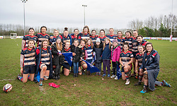 Mascot and members of the guard of honour pose with Bristol Ladies players after the game - Mandatory by-line: Paul Knight/JMP - 03/02/2018 - RUGBY - Cleve RFC - Bristol, England - Bristol Ladies v Harlequins Ladies - Tyrrells Premier 15s