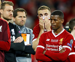 Giorginio Wijnaldum of Liverpool FC looks dejected after 3-1 loss against Real Madrid during the UEFA Champions League final between Real Madrid and Liverpool on May 26, 2018 at NSC Olimpiyskiy Stadium in Kyiv, Ukraine