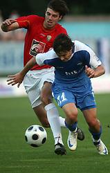 Petar Stojnic (11) of Rudar and Etien Velikonja (11) of Gorica at 3rd Round of PrvaLiga Telekom Slovenije between NK HIT Gorica vs NK Rudar Velenje, on August 1, 2008, in Nova Gorica, Slovenija. Rudar won the match 2:0. (Photo by Vid Ponikvar / Sportal Images)