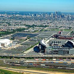Aerial view of Philadelphia sports stadiums, Wachovia  center, lincoln financial field, citizens bank park, spectrum