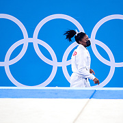 TOKYO, JAPAN - JULY 27:  Simone Biles of the United States runs back to a previous apparatus during the Team final for Women at Ariake Gymnastics Centre during the Tokyo 2020 Summer Olympic Games on July 27, 2021 in Tokyo, Japan. (Photo by Tim Clayton/Corbis via Getty Images)