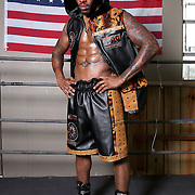 """WINTER HAVEN, FL - MAY 05: Boxer Willie Monroe Jr. poses at the Winter Haven Boxing Gym on May 5, 2015 in Winter Haven, Florida. Monroe will challenge middleweight world champion Gennady """"GGG"""" Golovkin for the WBA world championship title in Los Angeles on May 16.  (Photo by Alex Menendez/Getty Images) *** Local Caption *** Willie Monroe Jr."""