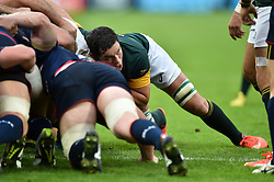 Francois Louw of South Africa in action at a scrum - Mandatory byline: Patrick Khachfe/JMP - 07966 386802 - 07/10/2015 - RUGBY UNION - The Stadium, Queen Elizabeth Olympic Park - London, England - South Africa v USA - Rugby World Cup 2015 Pool B.