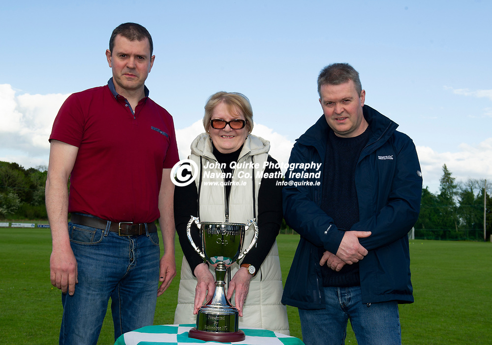 26-05-21. Presentation of the Billy Byrne Cup by Rathmolyon Hurling Club to Meath GAA County Board.<br /> Theresa Byrne (Billy Byrne's wife) with sons Wayne (Left) and Keith.<br /> Photo: John Quirke / www.quirke.ie<br /> ©John Quirke Photography, 16 Proudstown Road, Navan. Co. Meath. (info@quirke.ie / 046-9028461 / 087-2579454).