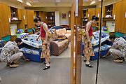 Moscow, Russia, 18/06/2006..Customers testing furniture in a branch of the Shatura furniture store chain.