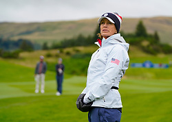 Auchterarder, Scotland, UK. 12 September 2019. Final practice day at 2019 Solheim Cup on Centenary Course at Gleneagles. Pictured; Juli Inkster  team Captain of USA watches approach shot by Brittany Altomare to 9th hole. Iain Masterton/Alamy Live News
