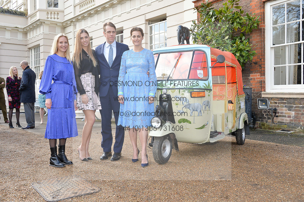 Thursday 26th March 2015, The Elephant Family charity and Quintessentially Foundation announced the launch of 'Travels To My Elephant' – a once-in-a-lifetime rickshaw race taking place in India in November 2015. The official launch of the venture took place at Clarence House at an exclusive reception hosted by TRH The Prince of Wales and The Duchess of Cornwall,  joint patrons of Elephant Family.<br /> Picture shows,:-Left to right, RUTH POWYS, AMBER LE BON, BEN ELLIOT and YASMIN LE BON