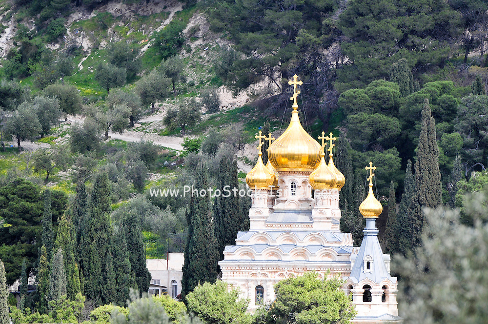 The Russian Orthodox Church of Saint Mary Magdalene is situated along the pathway between Dominus Flevit and the Garden of Gethsemane. Mt Olives, Jerusalem, Israel