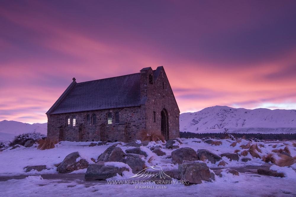 Winter sunrise over the Church of the Good Shepherd, at Tekapo, New Zealand.