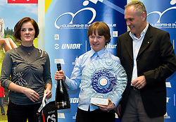Milena Cernilogar Radez, president of KZS, best women rider Tanja Zakelj and Damjan Pintar of Unior d.d. during the Slovenia's Cyclist of the year award ceremony by Slovenian Cycling Federation KZS, on December 11, 2010 in Hotel Mons, Ljubljana, Slovenia. (Photo By Vid Ponikvar / Sportida.com)