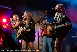 The Sweet Tea Trio play the Main Stage in Loretta's Roadhouse during the Tennessee Motorcycles and Music Revival at Loretta Lynn's Ranch. Hurricane Mills, TN, USA. Friday, May 21, 2021. Photography ©2021 Michael Lichter.