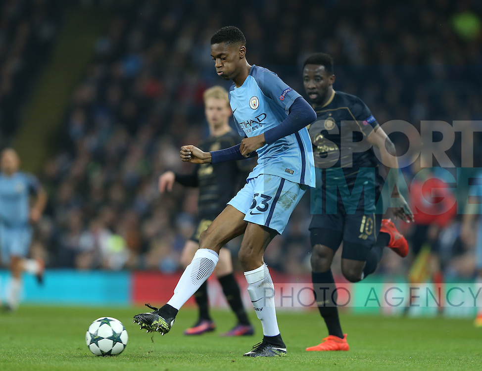 Tosin Adarabioyo of Manchester City during the Champions League Group C match at the Etihad Stadium, Manchester. Picture date: December 6th, 2016. Pic Simon Bellis/Sportimage