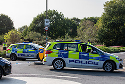 © Licensed to London News Pictures. 16/09/2020. London, UK. Police at the scene in Mitcham where a body of a man was found on the common. A body of man who was apparently found alight has been found near Commonside East on Mitcham Common in South West London. Photo credit: Alex Lentati/LNP
