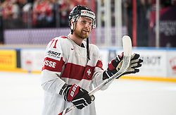 Tanner Richard of Switzerland celebrates after winning during the 2017 IIHF Men's World Championship group B Ice hockey match between National Teams of Canada and Switzerland, on May 13, 2017 in AccorHotels Arena in Paris, France. Photo by Vid Ponikvar / Sportida
