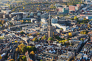 Nederland, Utrecht, Amersfoort, 24-10-2013. Stadskern van de stad met Onze Lieve Vrouwetoren, hoogbouw in de achtergrond. <br /> Old town of Amsersfoort with church tower, modern high rise in the back. <br /> luchtfoto (toeslag op standaard tarieven);<br /> aerial photo (additional fee required);<br /> copyright foto/photo Siebe Swart.