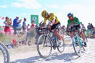 Greg Van Avermaet (BEL - BMC) yellow jersey and Peter Sagan (SVK - Bora - Hansgrohe), pass cobblestone section of during during the 105th Tour de France 2018, Stage 9, Arras Citadelle - Roubaix (156,5km) on July 15th, 2018 - Photo George Deswijzen / Proshots / ProSportsImages / DPPI