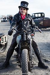 Matt Thenen on his 1941Harley-Davidson WLDR Racer at the Race of Gentlemen. Wildwood, NJ, USA. October 10, 2015.  Photography ©2015 Michael Lichter.