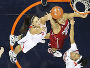 CHARLOTTESVILLE, VA- December 1: Ataira Franklin #23 and Erinn Thompson #5 of the Virginia Cavaliers reach for the the rebound with Danilsa Andujar #21 of the Indiana Hoosiers during the game on December 1, 2011 at the John Paul Jones Arena in Charlottesville, Virginia. Virginia defeated Indiana 65-49. (Photo by Andrew Shurtleff/Getty Images) *** Local Caption *** Danilsa Andujar;Erinn Thompson;Ataira Franklin