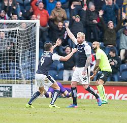 Raith Rovers Ryan Stevenson cele scoring their goal. Raith Rovers 1 v 1 Hibernian, Scottish Championship game played 18/2/2017 at Starks Park.