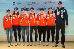 Ski Jumping Women Team: ...., Jerneja Brecl, Nika Kriznar, Ursa Bogataj, Spela Rogelj, Maja Vtic and Zoran Zupancic during press conference of Slovenian Nordic Ski teams, on January 8, 2018 in Triglav Lab, Ljubljana, Slovenia. Photo by Vid Ponikvar / Sportid