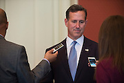 Rick Santorum speaks with the media after a campaign luncheon in Fort Worth, Texas on October 12, 2015. (Cooper Neill for The Texas Tribune)