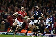 George North of Wales scores his teams 3rd try. RBS Six nations championship 2016, Wales v Scotland at the Principality Stadium in Cardiff, South Wales on Saturday 13th February 2016. <br /> pic by  Andrew Orchard, Andrew Orchard sports photography.