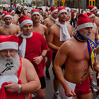 "People participate in a half naked ""Santa run"" in Budapest, Hungary on December 11, 2011. ATTILA VOLGYI"