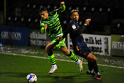 Jake Young of Forest Green Rovers gets past Kellan Gordon of Mansfield Town- Mandatory by-line: Nizaam Jones/JMP - 14/11/2020 - FOOTBALL - innocent New Lawn Stadium - Nailsworth, England - Forest Green Rovers v Mansfield Town - Sky Bet League Two