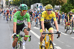 July 23, 2017 - Paris, FRANCE - Australian Michael Matthews of Team Sunweb wearing the green jersey of leader in the sprint ranking and British Chris Froome of Team Sky wearing the yellow jersey of overal leader pictured during the twenty-first and final stage of the 104th edition of the Tour de France cycling race, from Montgeron to Paris (103km), France, Sunday 23 July 2017. This year's Tour de France takes place from July first to July 23rd...BELGA PHOTO DAVID STOCKMAN (Credit Image: © David Stockman/Belga via ZUMA Press)
