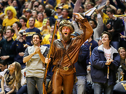 Jan 15, 2018; Morgantown, WV, USA; The West Virginia Mountaineers mascot celebrates during the first half against the Kansas Jayhawks at WVU Coliseum. Mandatory Credit: Ben Queen-USA TODAY Sports