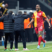 Galatasaray's Tebily Didier Yves Drogba (R) celebrate his goal during their UEFA Champions League Quarter-finals, Second leg match Galatasaray between Real Madrid at the TT Arena AliSamiYen Spor Kompleksi in Istanbul, Turkey on Tuesday 09 April 2013. Photo by Aykut AKICI/TURKPIX