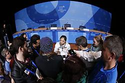 February 18, 2018 - Pyeongchang, KOREA - United States figure skater Marai Nagasu at press conference during the Pyeongchang 2018 Olympic Winter Games at Kwandong Hockey Centre. Finland beat Sweden 7-2. (Credit Image: © David McIntyre via ZUMA Wire)