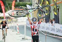Simon Cibej celebrates during Cross Country XC Mountain bike race for Slovenian National Championship in Kamnik, on July 12, 2015 in Kamnik,  Slovenia. Photo by Vid Ponikvar / Sportida