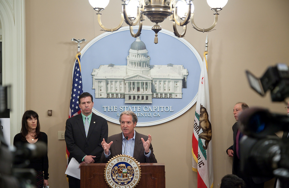 Press conference at the Sacramento state capital on the use of antibiotics in agriculture.