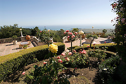 California, San Luis Obispo County: Hearst Castle State Park, formerly the palatial hillside home of publisher William Randoph Hearst.  View of ocean from Castle..Photo caluis214-71257. .Photo copyright Lee Foster, www.fostertravel.com, 510-549-2202, lee@fostertravel.com