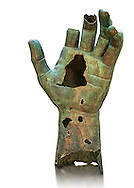 Gigantic Roman bronze statue hand possibly from a sculpture of Emperor Constantine, from Rome. The Capitoline Museums, Rome ...<br /> <br /> If you prefer to buy from our ALAMY STOCK LIBRARY page at https://www.alamy.com/portfolio/paul-williams-funkystock/greco-roman-sculptures.html . Type -    Capitoline    - into LOWER SEARCH WITHIN GALLERY box - Refine search by adding a subject, place, background colour, etc.<br /> <br /> Visit our ROMAN WORLD PHOTO COLLECTIONS for more photos to download or buy as wall art prints https://funkystock.photoshelter.com/gallery-collection/The-Romans-Art-Artefacts-Antiquities-Historic-Sites-Pictures-Images/C0000r2uLJJo9_s0