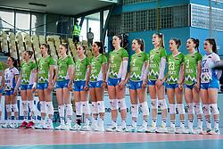 Team of Slovenia during anthem before volleyball match between Slovenia and Portugal in CEV Volleyball European Silver League 2021, on 12 of June, 2021 in Dvorana Ljudski Vrt, Maribor, Slovenia. Photo by Blaž Weindorfer / Sportida